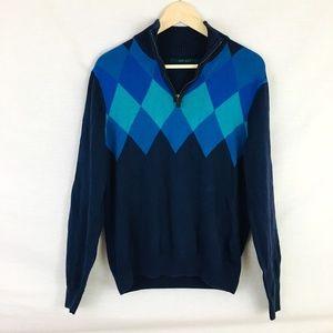 00d032f5e4 Perry Ellis Quarter Zip Diamond Pattern Sweater M